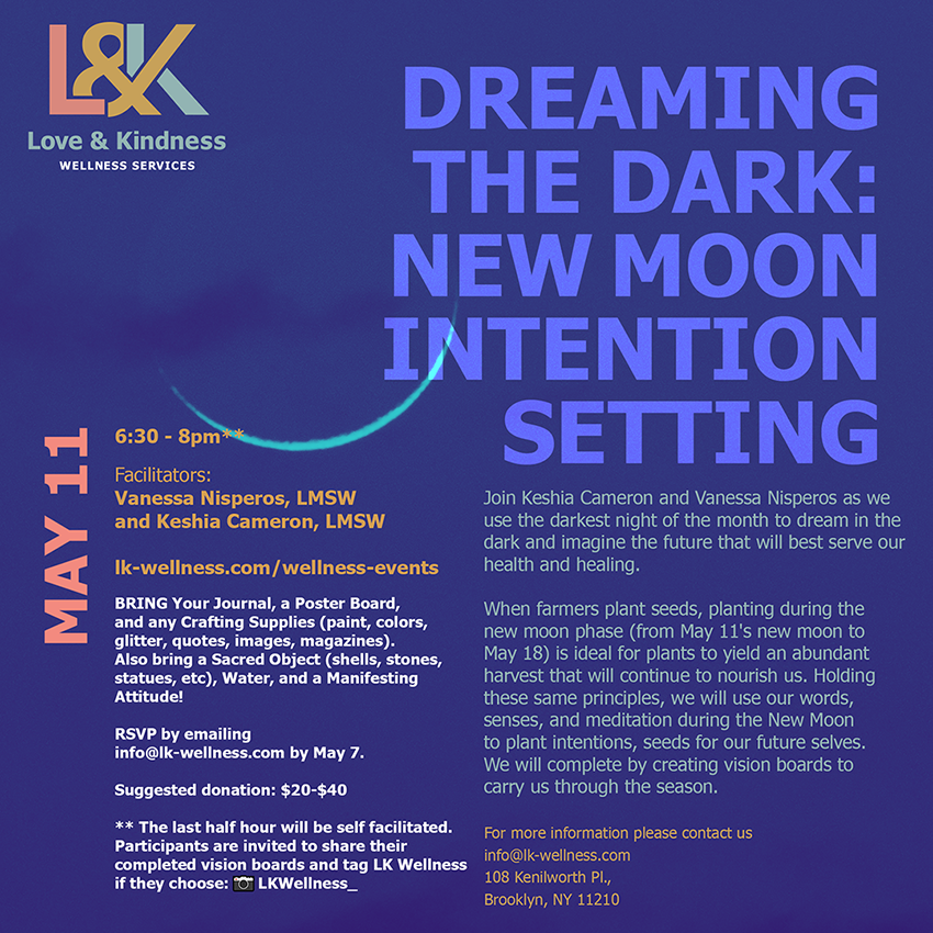 Flyer for dreaming the dark: new moon intention setting
